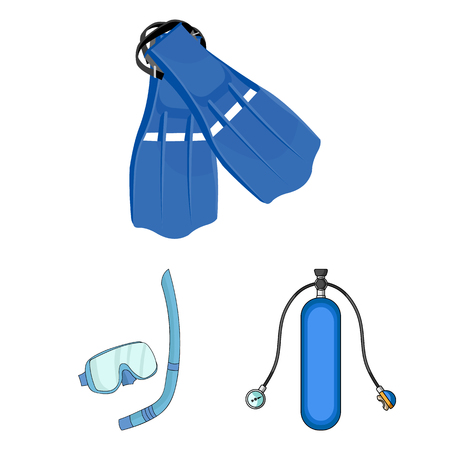 Vector illustration of dive and scuba sign. Collection of dive and swim stock vector illustration. Çizim