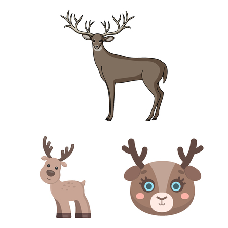 Vector design of elk and head symbol. Set of elk and stag vector icon for stock.