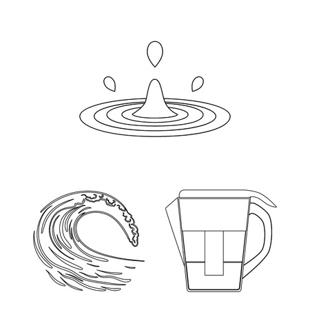 Vector illustration of water and drop icon. Set of water and splash vector icon for stock.