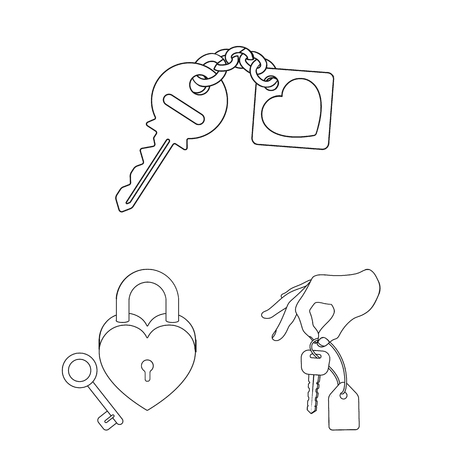 Isolated object of key  and protection icon. Collection of key  and security stock symbol for web.