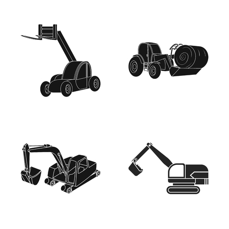 Isolated object of front and excavator logo. Collection of front and bucket vector icon for stock. Vettoriali