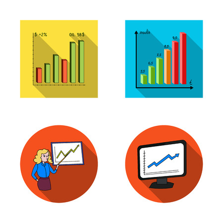 Vector design of diagram and statistic icon. Set of diagram and business vector icon for stock.