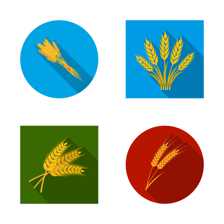 Vector design of wheat and stalk symbol. Set of wheat and grain vector icon for stock. Vectores