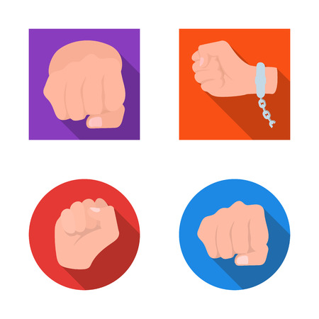Isolated object of fist and punch logo. Set of fist and hand vector icon for stock.