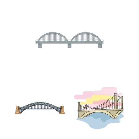 Vector illustration of bridge and construction symbol. Set of bridge and arch stock vector illustration.