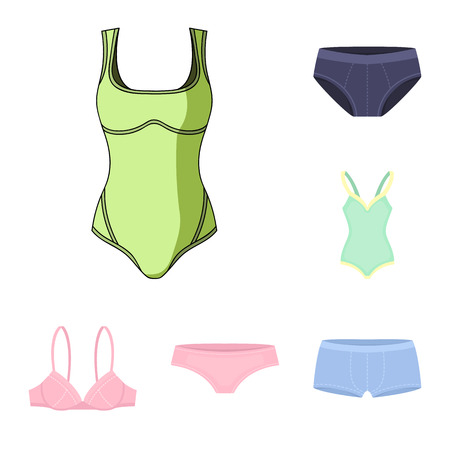 Vector design of bikini and fashion symbol. Set of bikini and swimsuit vector icon for stock.