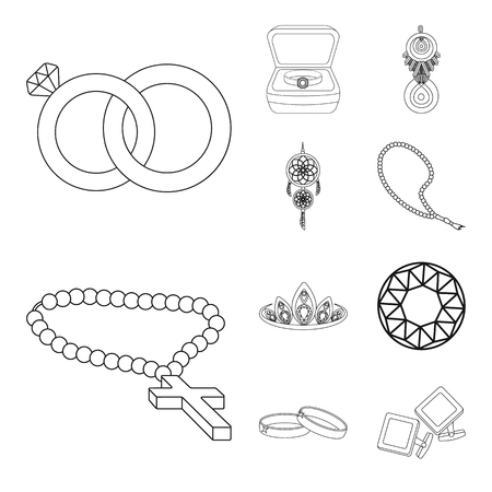 Vector illustration of jewelery and necklace symbol. Collection of jewelery and pendent vector icon for stock. 矢量图像