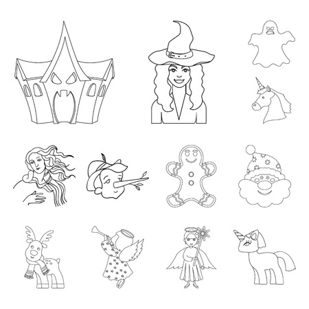 Isolated object of tale and character icon. Set of tale and cute stock symbol for web.  イラスト・ベクター素材