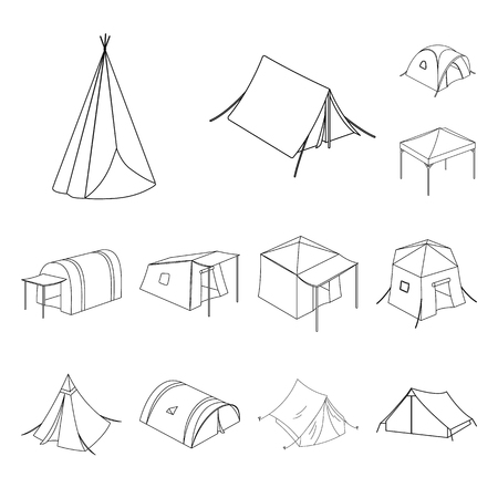 Isolated object of tent  and camp symbol. Set of tent  and forest stock vector illustration. Ilustrace