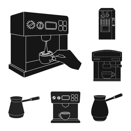 Isolated object of coffee and machine symbol. Collection of coffee and kitchen vector icon for stock.