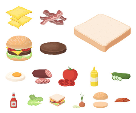 Burger and ingredients cartoon icons in set collection for design. Burger cooking vector symbol stock web illustration. Vettoriali