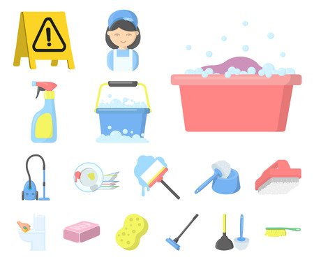 Cleaning and maid cartoon icons in set collection for design. Equipment for cleaning vector symbol stock web illustration. Ilustração