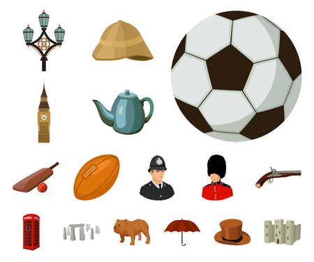 England country cartoon icons in set collection for design.Travel and attractions vector symbol stock web illustration.