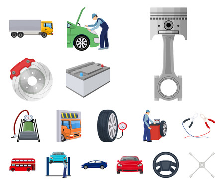 Car, lift, pump and other equipment cartoon icons in set collection for design. Car maintenance station vector symbol stock illustration web. Vectores