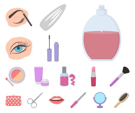 Icone del fumetto di trucco e cosmetici nella raccolta di set per il disegno. Trucco e attrezzature simbolo d'archivio web illustrazione di vettore.