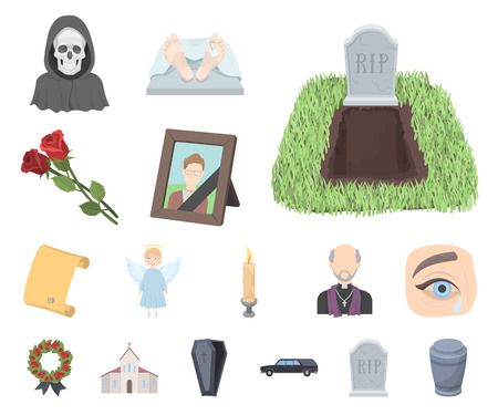 Funeral ceremony cartoon icons in set collection for design. Funerals and Attributes vector symbol stock web illustration. Vektorové ilustrace