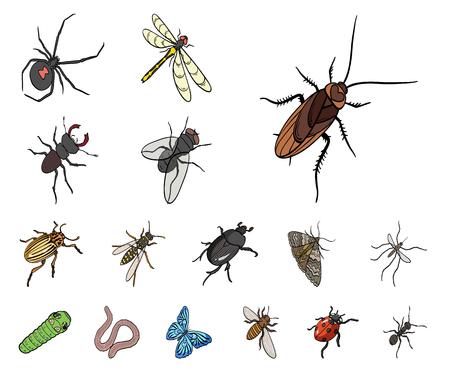 Verschiedene Arten von Insektenkarikaturikonen in der Satzsammlung für Design. Symbolvorrat-Netzillustration des Insektenarthropodenvektors isometrische.