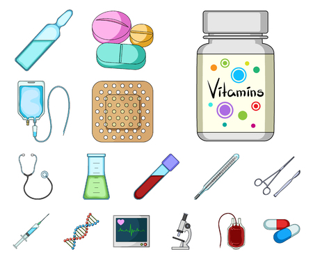 Medicine and treatment cartoon icons in set collection for design. Medicine and equipment vector symbol stock web illustration.