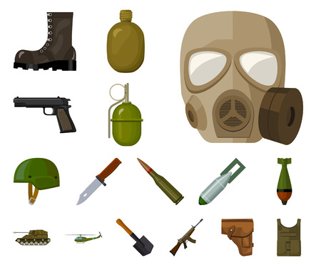Army and armament cartoon icons in set collection for design. Weapons and equipment vector symbol stock web illustration. Illustration