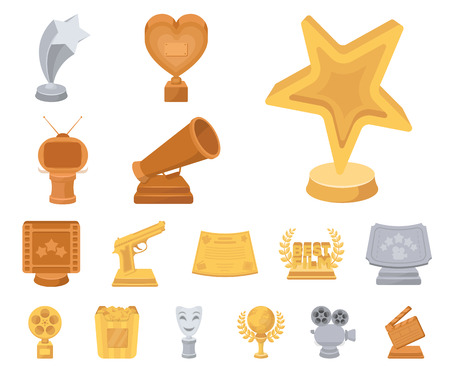 Film awards and prizes cartoon icons in set collection for design. The World Film Academy vector symbol stock web illustration. Stock Illustratie