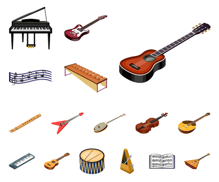 Icone del fumetto dello strumento musicale nella raccolta dell'insieme per progettazione. Illustrazione isometrica di web delle azione di simbolo di vettore dello strumento a fiato e della corda. Vettoriali