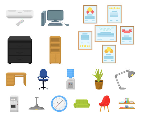 Interior of the workplace cartoon icons in set collection for design. Office furniture vector symbol stock web illustration. Illusztráció