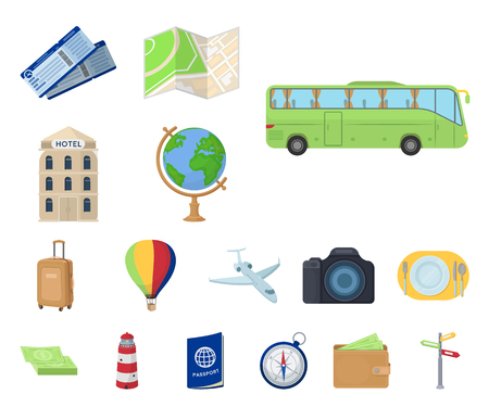 Rest and travel cartoon icons in set collection for design. Transport, tourism vector symbol stock web illustration.