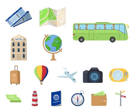 Riposo e viaggio icone dei cartoni animati nella raccolta di set per il design. Trasporto, turismo simbolo d'archivio web illustrazione di vettore.
