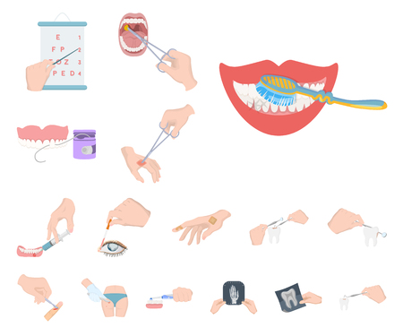 Manipulation by hands cartoon icons in set collection for design. Hand movement in medicine vector symbol stock illustration. Ilustracja