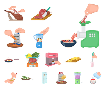 Cooking food cartoon icons in set collection for design. Kitchen, equipment and tools vector symbol stock web illustration.