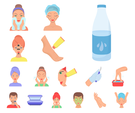 Skin care cartoon icons in set collection for design. Face and body vector symbol stock web illustration.