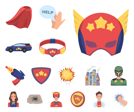 A fantastic superhero cartoon icons in set collection for design. Superheros equipment vector symbol stock web illustration. Illustration
