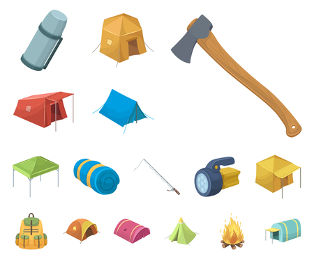 Different kinds of tents cartoon icons in set collection for design. Temporary shelter and housing vector symbol stock web illustration.