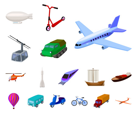 Different types of transport cartoon icons in set collection for design. Car and ship vector symbol stock web illustration. Ilustración de vector