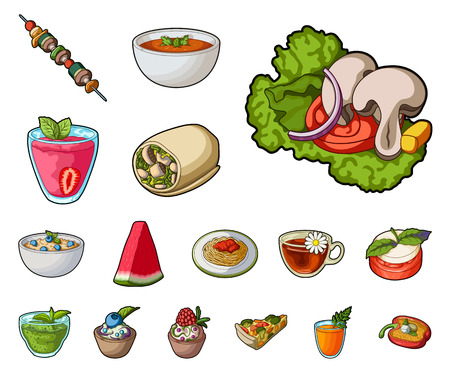 Vegetarian dish cartoon icons in set collection for design.Vegetable and milk food vector symbol stock web illustration.