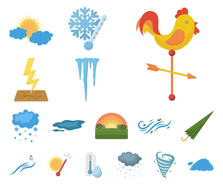 Iconos de dibujos animados de clima diferente de colección set de diseño.Signos y características de la ilustración de stock de símbolo de vector de clima. Ilustración de vector