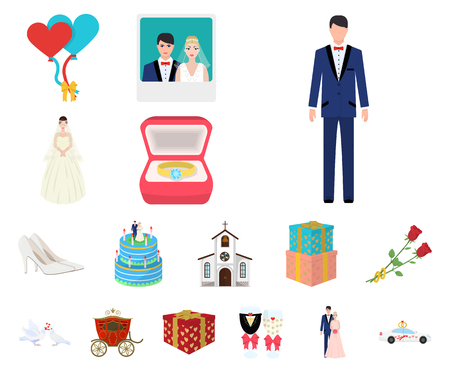 Wedding and Attributes cartoon icons in set collection for design. Newlyweds and Accessories vector symbol stock web illustration.