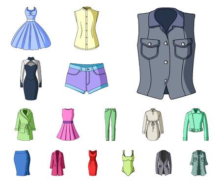 Odzież damska kreskówka ikony w kolekcja zestaw do projektowania. Odmiany odzieży i akcesoria wektor symbol sieci web ilustracji.