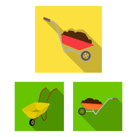 Isolated object of wheelbarrow and dirt icon. Collection of wheelbarrow and barrow stock vector illustration.