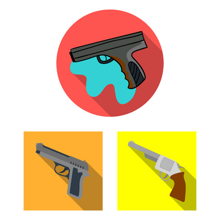 Vector illustration of revolver and pistol logo. Set of revolver and trigger vector icon for stock.