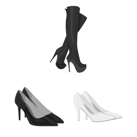 Vector illustration of heel and high logo. Set of heel and stiletto stock vector illustration.