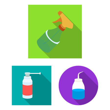 Isolated object of sprayer and liquid icon. Collection of sprayer and pesticide stock vector illustration.