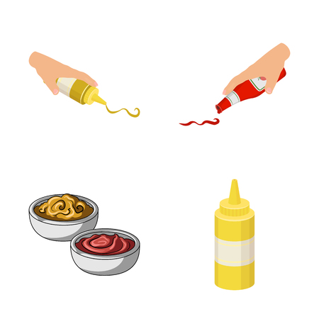 Vector illustration of sauce and condiment sign. Collection of sauce and bowl vector icon for stock.