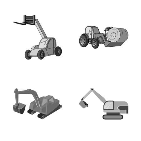 Disegno vettoriale del logo anteriore e dell'escavatore. Set di illustrazione vettoriale d'archivio anteriore e secchio. Logo