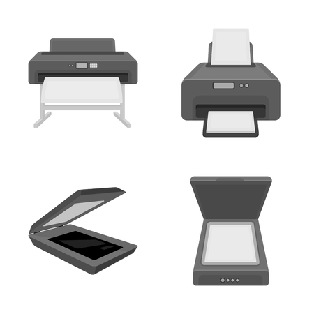 Vector illustration of printer and plotter icon. Collection of printer and machine stock vector illustration. Stock Illustratie