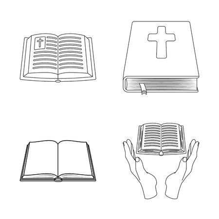 Isolated object of book and christian symbol. Set of book and holy stock symbol for web.