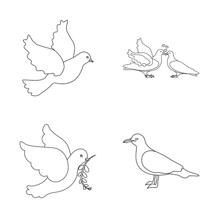 Vector design of flying and dove logo. Set of flying and carrier vector icon for stock. Illustration