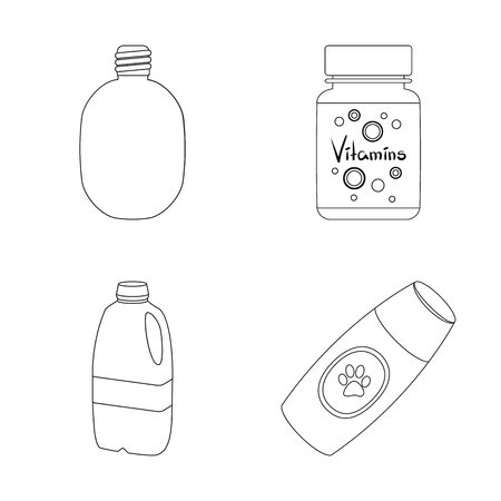 Isolated object of plastic and container logo. Collection of plastic and packaging vector icon for stock. Çizim