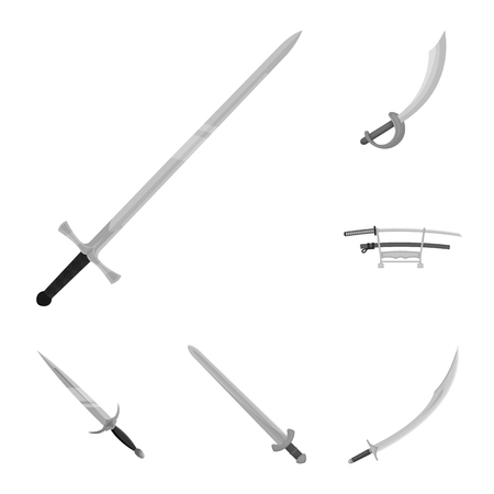 Vector design of sword and blade sign. Collection of sword and game  stock symbol for web.