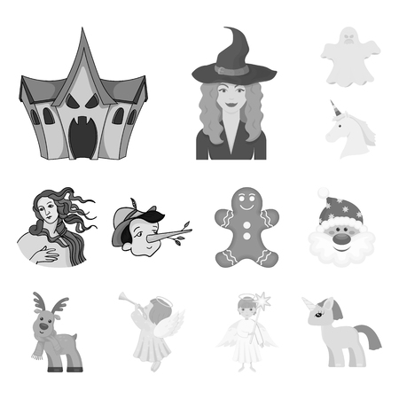 Vector design of tale and character logo. Collection of tale and cute stock symbol for web.